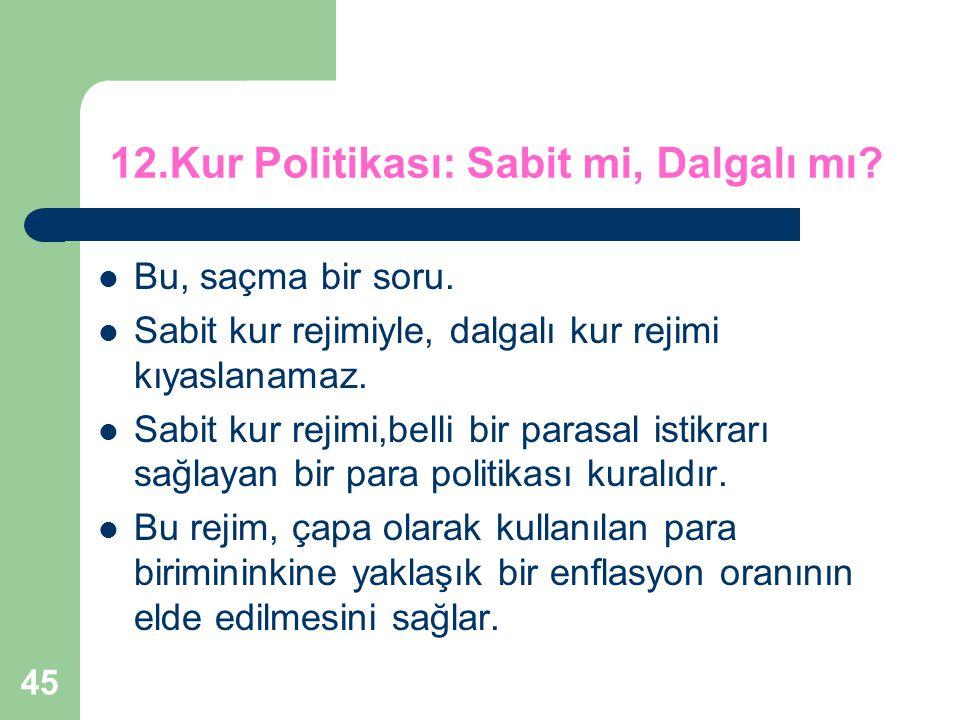 45 12.Kur Politikası: Sabit mi, Dalgalı mı.Bu, saçma bir soru.