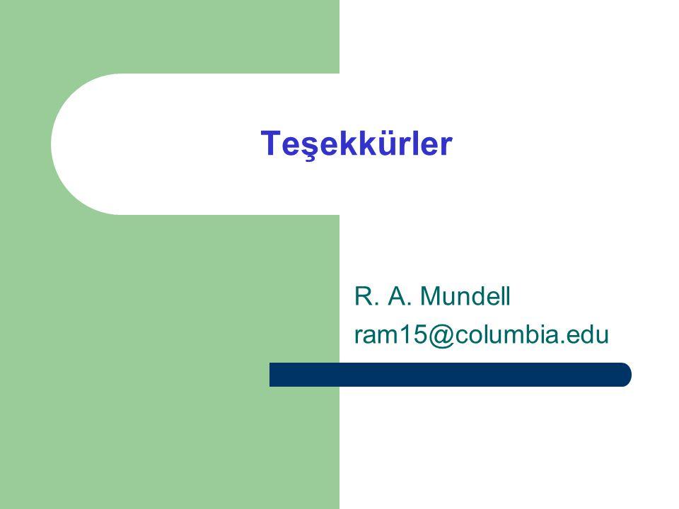 Teşekkürler R. A. Mundell ram15@columbia.edu