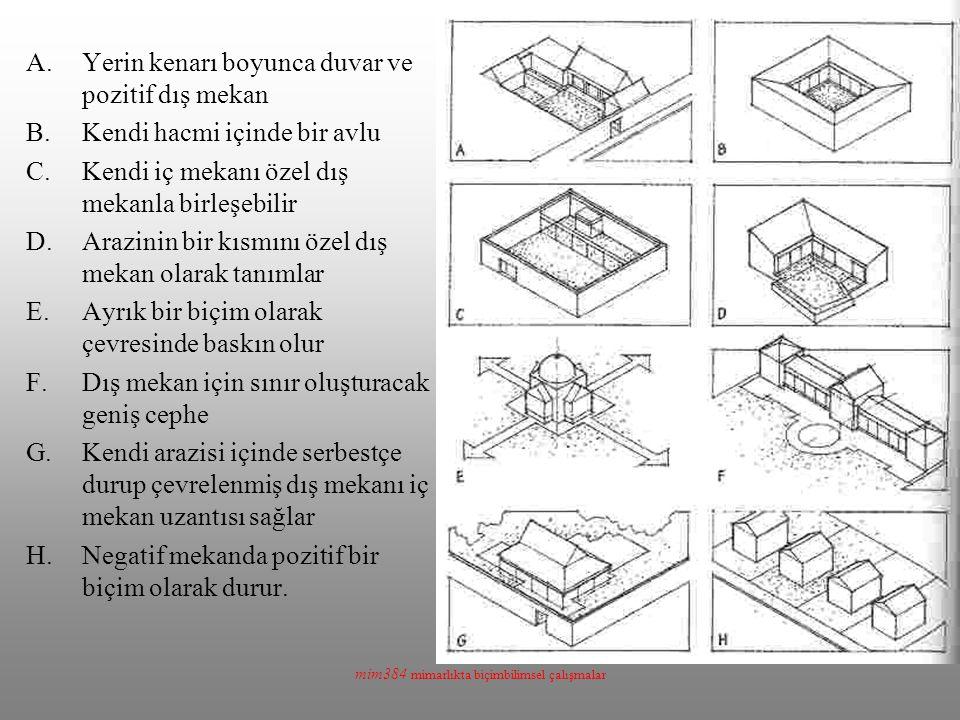 mim384 mimarlıkta biçimbilimsel çalışmalar A.Yerin kenarı boyunca duvar ve pozitif dış mekan B.Kendi hacmi içinde bir avlu C.Kendi iç mekanı özel dış