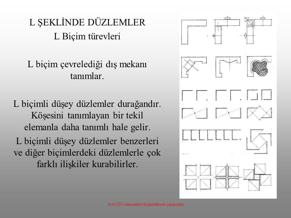 mim384 mimarlıkta biçimbilimsel çalışmalar L ŞEKLİNDE DÜZLEMLER L Biçim türevleri L biçim çevrelediği dış mekanı tanımlar. L biçimli düşey düzlemler d