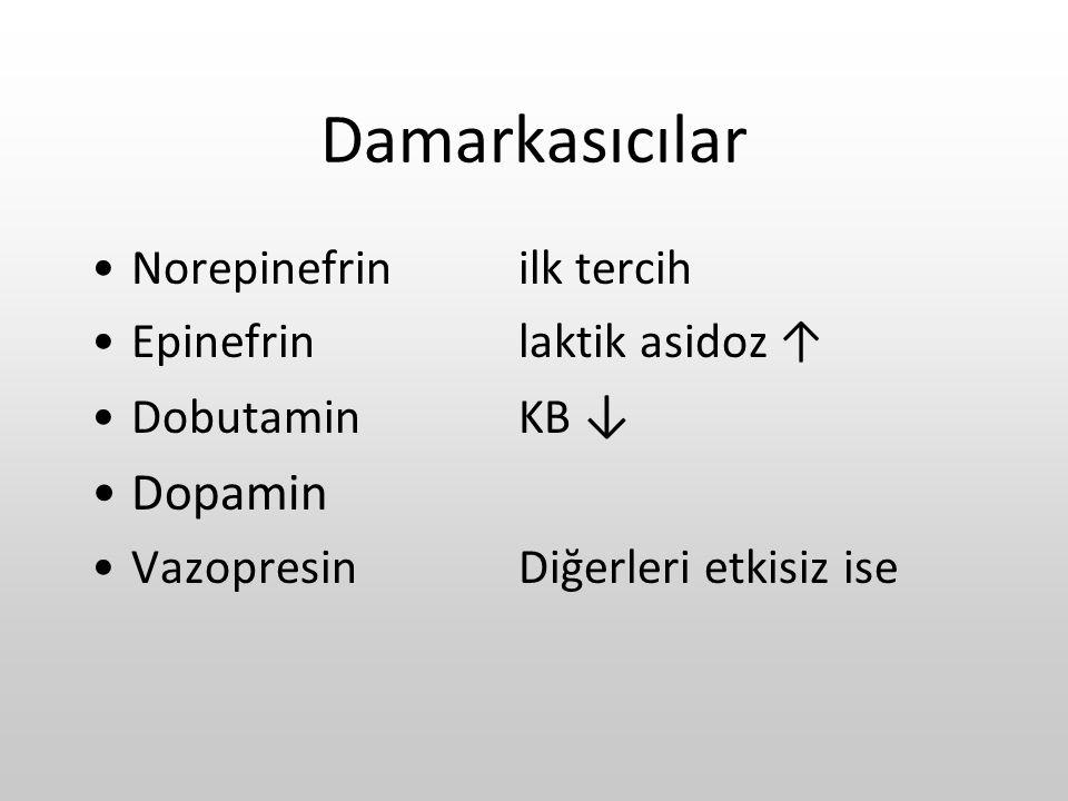 Damarkasıcılar Norepinefrinilk tercih Epinefrinlaktik asidoz ↑ DobutaminKB ↓ Dopamin VazopresinDiğerleri etkisiz ise