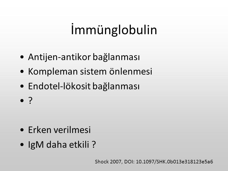 İmmünglobulin Antijen-antikor bağlanması Kompleman sistem önlenmesi Endotel-lökosit bağlanması ? Erken verilmesi IgM daha etkili ? Shock 2007, DOI: 10