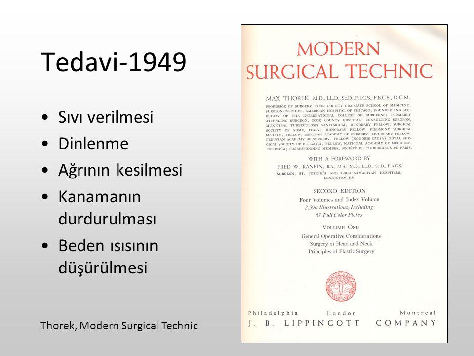 Tedavi-1949 Sıvı verilmesi Dinlenme Ağrının kesilmesi Kanamanın durdurulması Beden ısısının düşürülmesi Thorek, Modern Surgical Technic