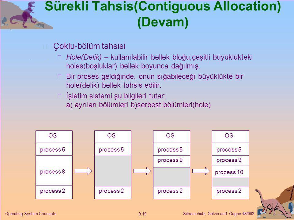 Silberschatz, Galvin and Gagne  2002 9.19 Operating System Concepts Sürekli Tahsis(Contiguous Allocation) (Devam) Çoklu-bölüm tahsisi  Hole(Delik) –