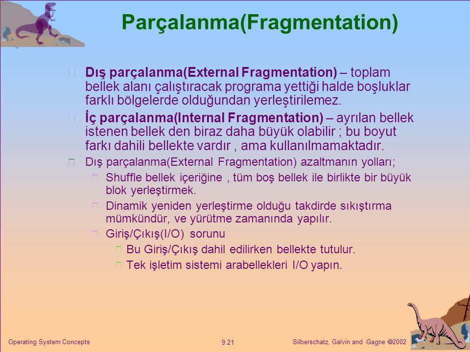 Silberschatz, Galvin and Gagne  2002 9.21 Operating System Concepts Parçalanma(Fragmentation) Dış parçalanma(External Fragmentation) – toplam bellek