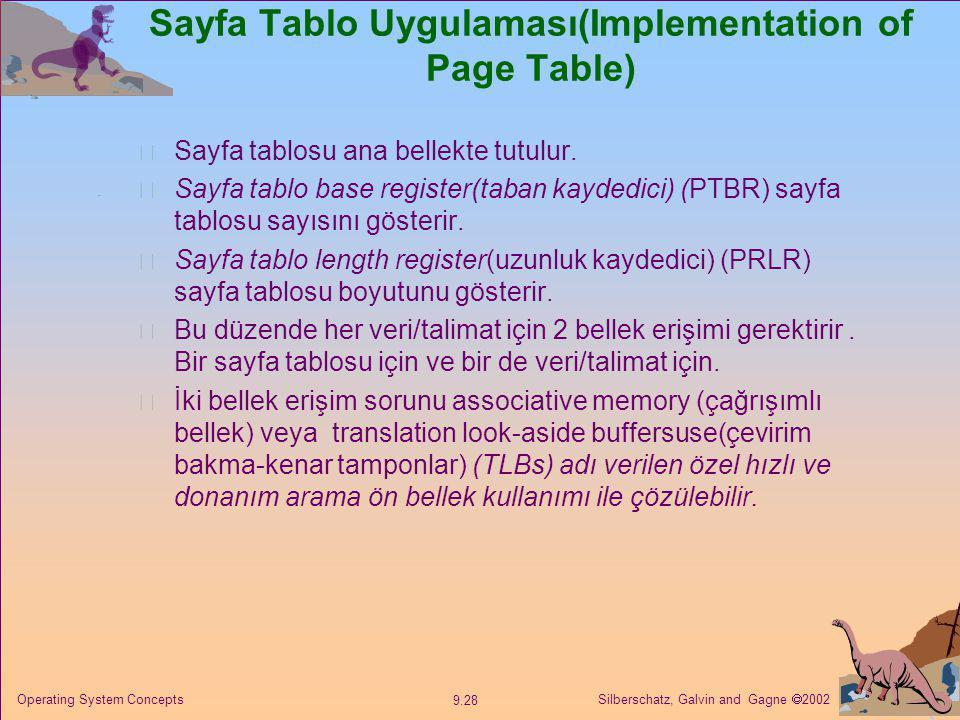 Silberschatz, Galvin and Gagne  2002 9.28 Operating System Concepts Sayfa Tablo Uygulaması(Implementation of Page Table) Sayfa tablosu ana bellekte t