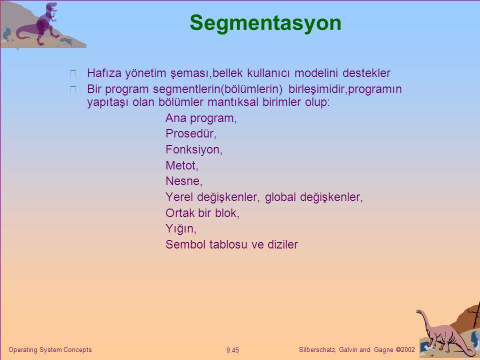 Silberschatz, Galvin and Gagne  2002 9.45 Operating System Concepts Segmentasyon Hafıza yönetim şeması,bellek kullanıcı modelini destekler Bir progra