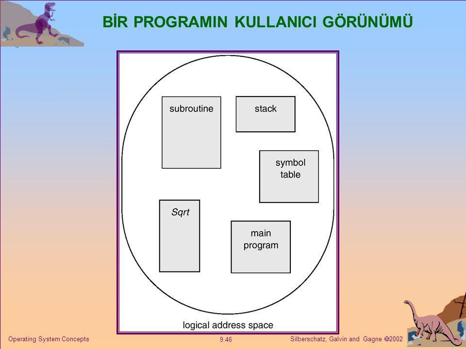 Silberschatz, Galvin and Gagne  2002 9.46 Operating System Concepts BİR PROGRAMIN KULLANICI GÖRÜNÜMÜ