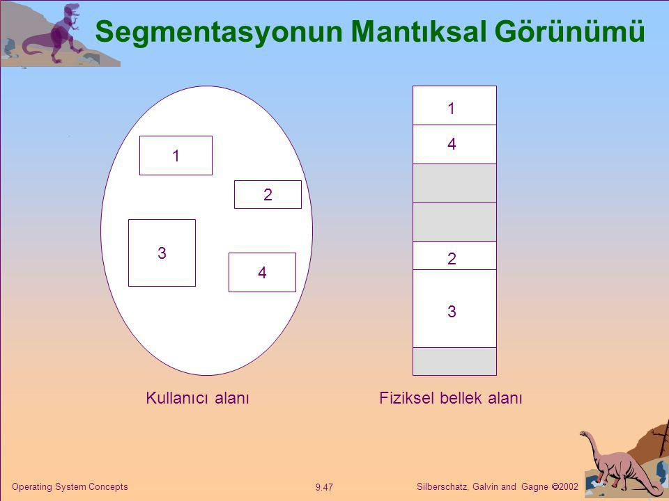 Silberschatz, Galvin and Gagne  2002 9.47 Operating System Concepts Segmentasyonun Mantıksal Görünümü 1 3 2 4 1 4 2 3 Kullanıcı alanıFiziksel bellek