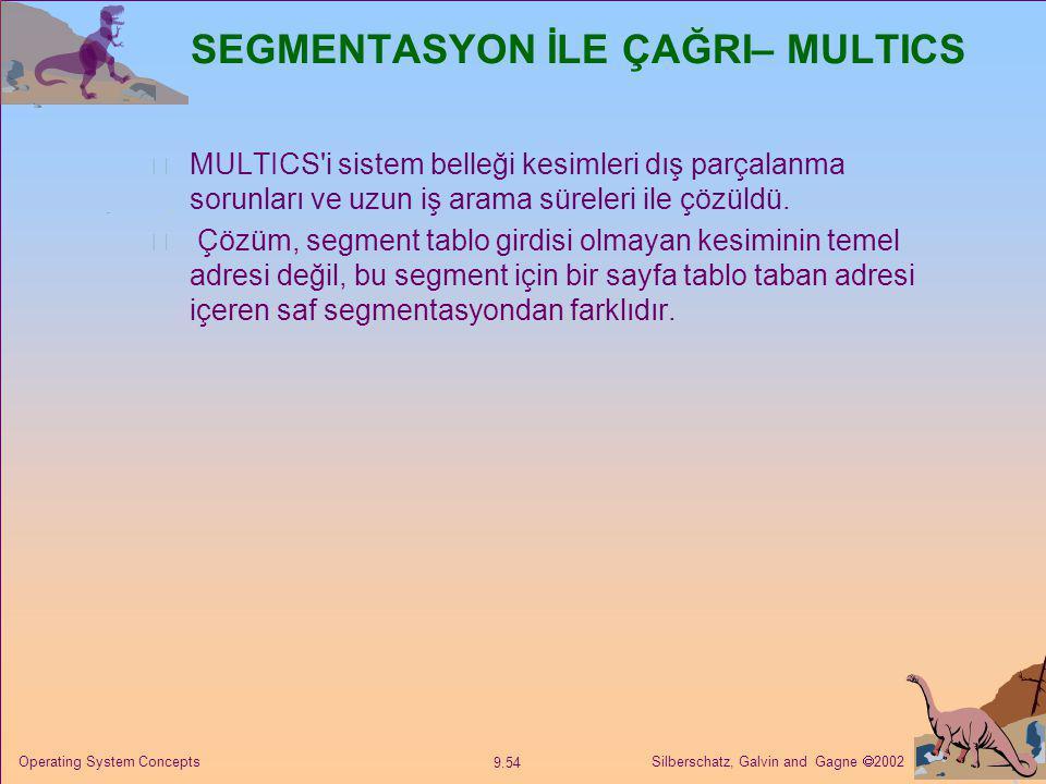 Silberschatz, Galvin and Gagne  2002 9.54 Operating System Concepts SEGMENTASYON İLE ÇAĞRI– MULTICS MULTICS'i sistem belleği kesimleri dış parçalanma