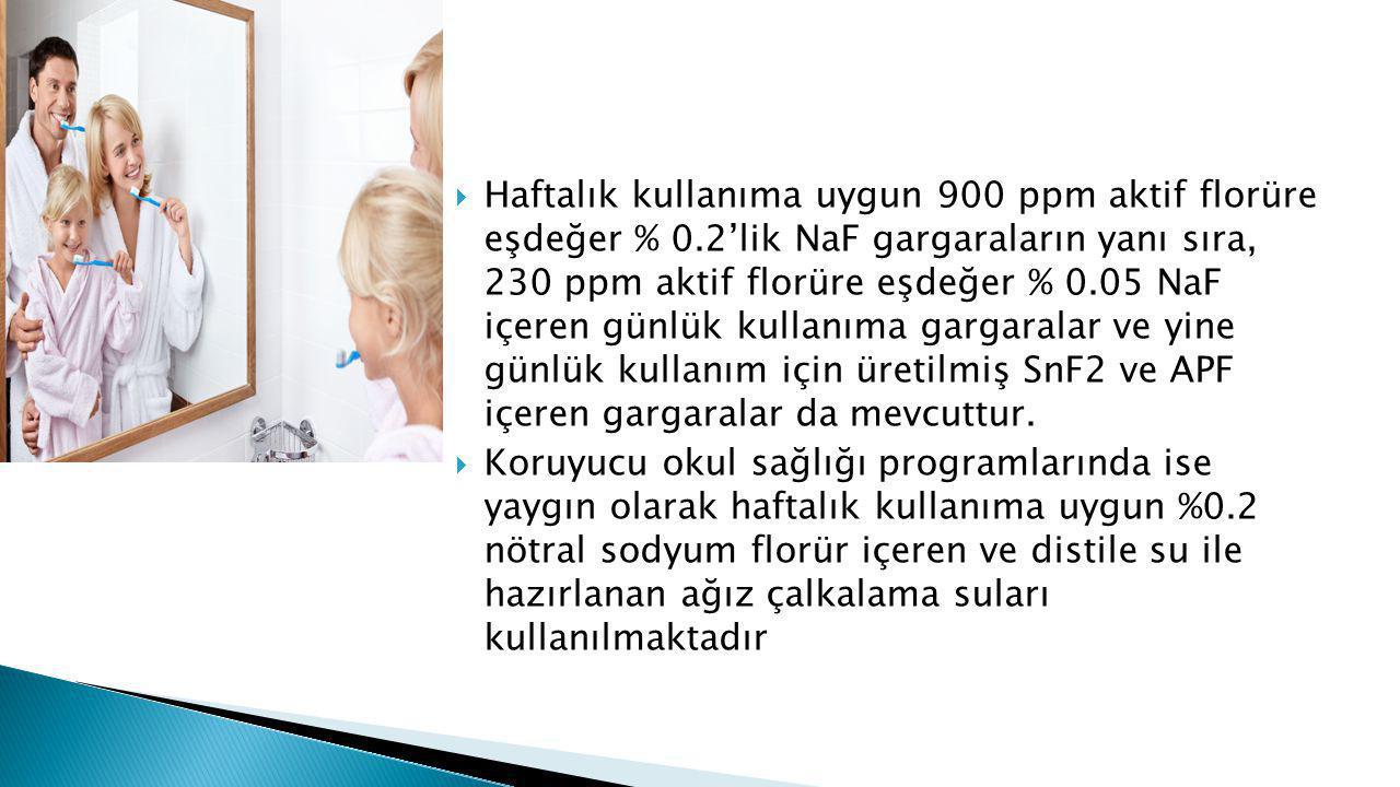  Haftalık kullanıma uygun 900 ppm aktif florüre eşdeğer % 0.2'lik NaF gargaraların yanı sıra, 230 ppm aktif florüre eşdeğer % 0.05 NaF içeren günlük