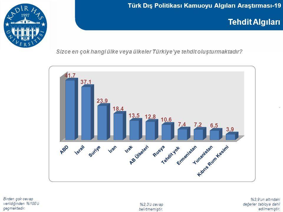 Tehdit Algıları Sizce en çok hangi ülke veya ülkeler Türkiye'ye tehdit oluşturmaktadır? Türk Dış Politikası Kamuoyu Algıları Araştırması-19 Birden çok