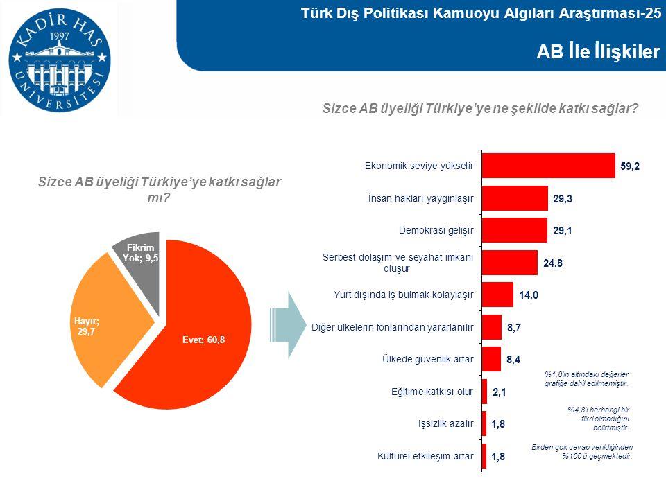 AB İle İlişkiler Sizce AB üyeliği Türkiye'ye katkı sağlar mı? Sizce AB üyeliği Türkiye'ye ne şekilde katkı sağlar? %1,8'in altındaki değerler grafiğe