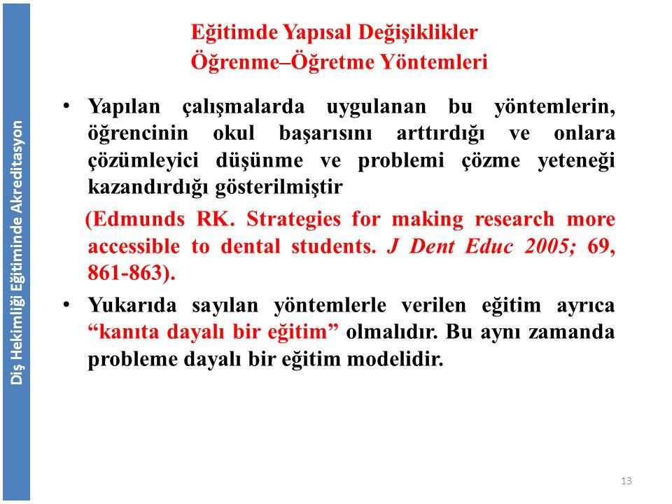 Diş Hekimliği Eğitiminde Akreditasyon Eğitimde Yapısal Değişiklikler Öğrenme–Öğretme Yöntemleri Yapılan çalışmalarda uygulanan bu yöntemlerin, öğrenci