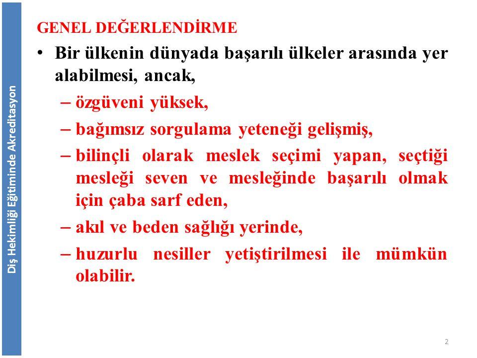 Bu çalışmalarla varılmak istenen hedefler: Eğitimde Toplam Kalite Yönetimi oluşturarak sürekli iyileşmeye ulaşmak ve kalite kültürü oluşturmak, AÜB'nin kalite güvencesi için performans göstergeleri dikkate alınarak başarı ve başarısızlıkları ölçmek ve değerlendirmek, Diş Hekimliği Eğitiminde Akreditasyon Türkiyede Diş Hekimliği Eğitimi ile ilgili Gelişmeler 73