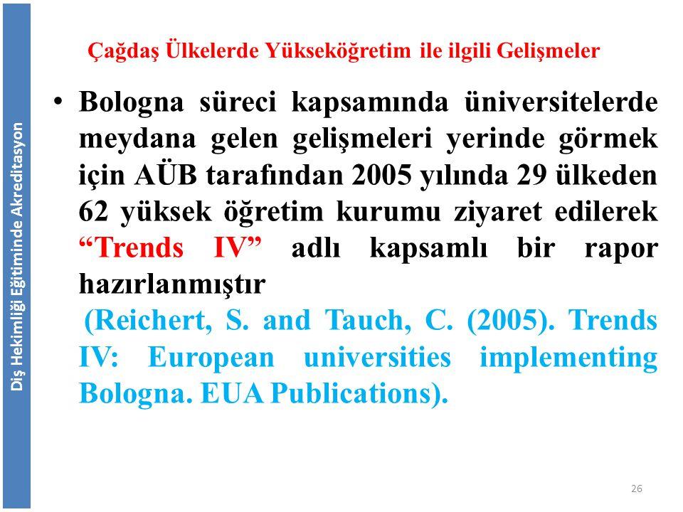 Diş Hekimliği Eğitiminde Akreditasyon Çağdaş Ülkelerde Yükseköğretim ile ilgili Gelişmeler Bologna süreci kapsamında üniversitelerde meydana gelen gel