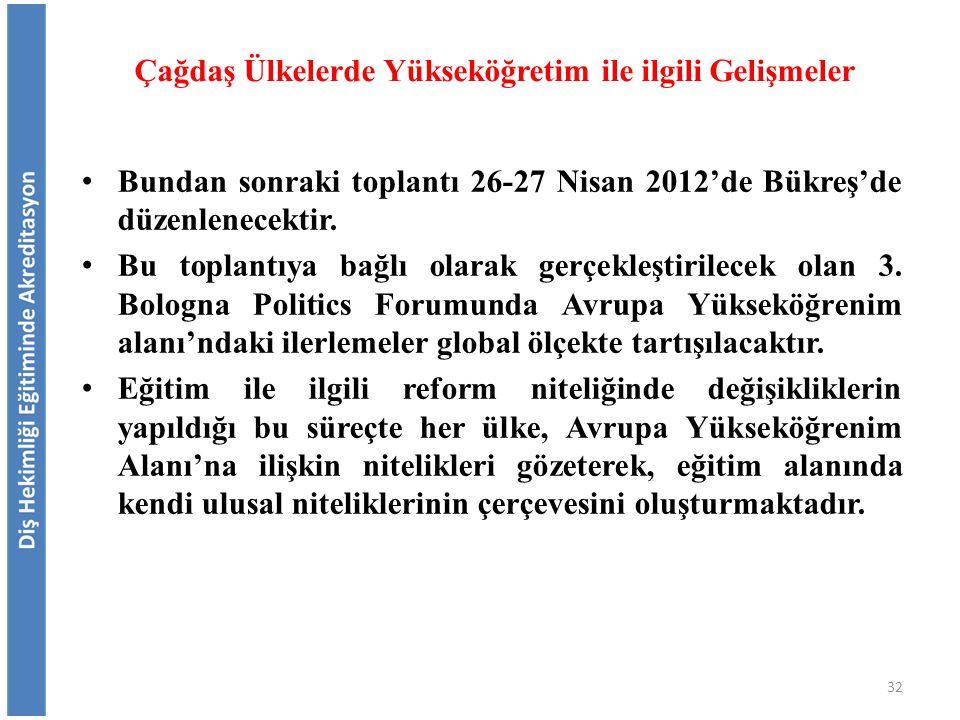Bundan sonraki toplantı 26-27 Nisan 2012'de Bükreş'de düzenlenecektir. Bu toplantıya bağlı olarak gerçekleştirilecek olan 3. Bologna Politics Forumund