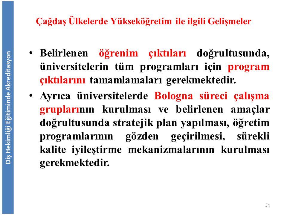 Belirlenen öğrenim çıktıları doğrultusunda, üniversitelerin tüm programları için program çıktılarını tamamlamaları gerekmektedir. Ayrıca üniversiteler