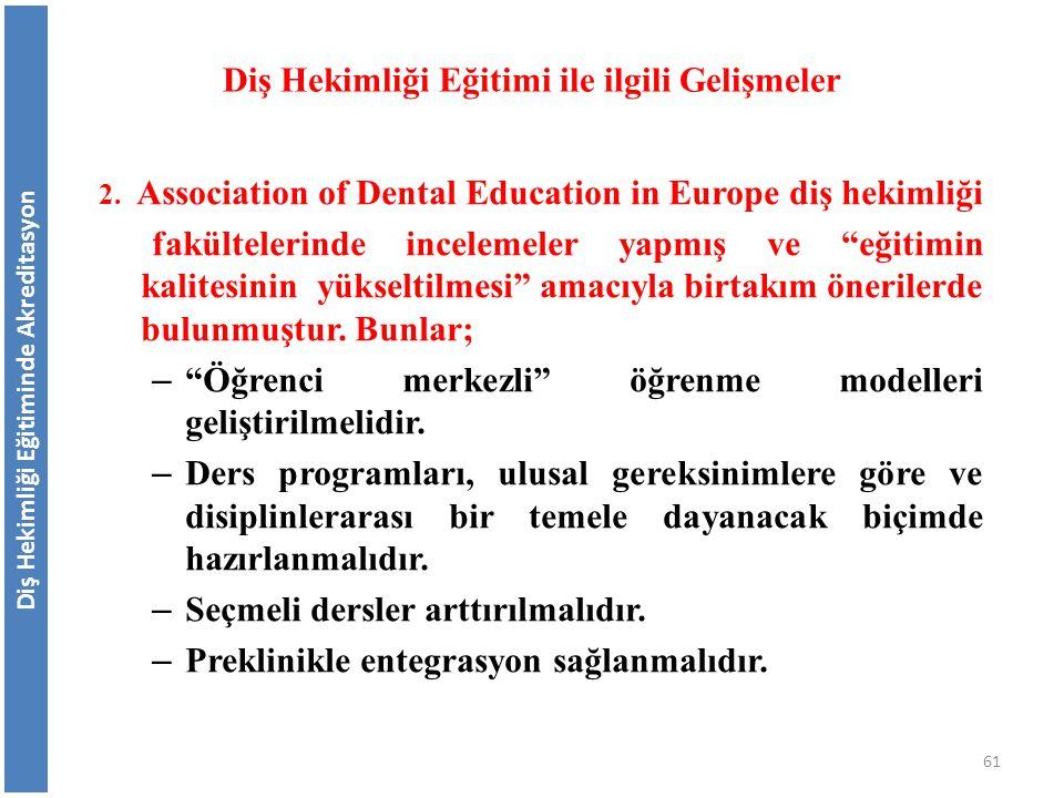 """2. Association of Dental Education in Europe diş hekimliği fakültelerinde incelemeler yapmış ve """"eğitimin kalitesinin yükseltilmesi"""" amacıyla birtakım"""