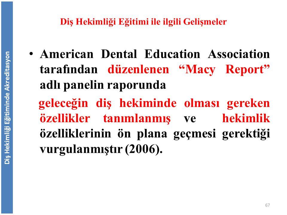 """American Dental Education Association tarafından düzenlenen """"Macy Report"""" adlı panelin raporunda geleceğin diş hekiminde olması gereken özellikler tan"""