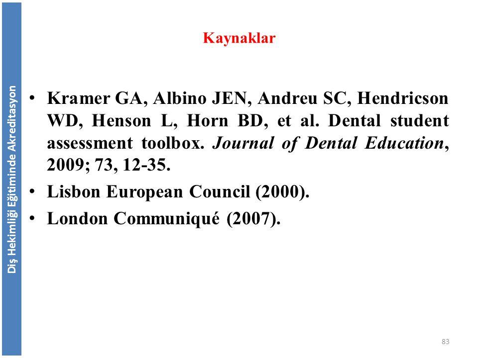 Kramer GA, Albino JEN, Andreu SC, Hendricson WD, Henson L, Horn BD, et al. Dental student assessment toolbox. Journal of Dental Education, 2009; 73, 1
