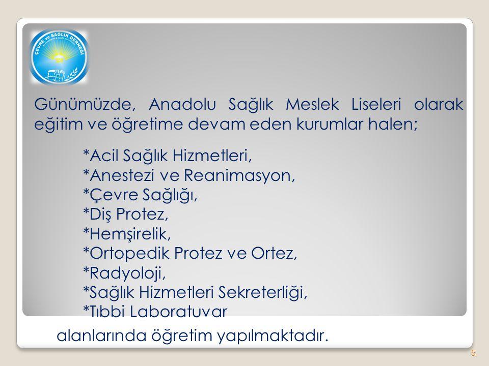 Günümüzde, Anadolu Sağlık Meslek Liseleri olarak eğitim ve öğretime devam eden kurumlar halen; *Acil Sağlık Hizmetleri, *Anestezi ve Reanimasyon, *Çev