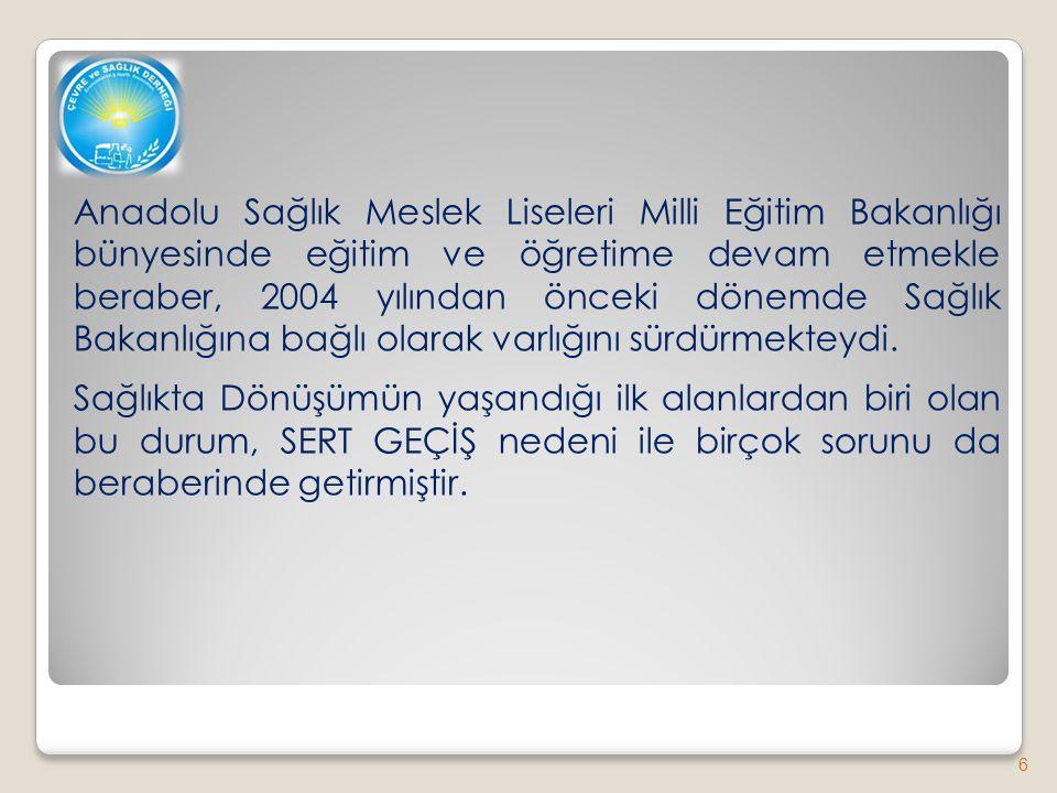 Anadolu Sağlık Meslek Liseleri Milli Eğitim Bakanlığı bünyesinde eğitim ve öğretime devam etmekle beraber, 2004 yılından önceki dönemde Sağlık Bakanlığına bağlı olarak varlığını sürdürmekteydi.