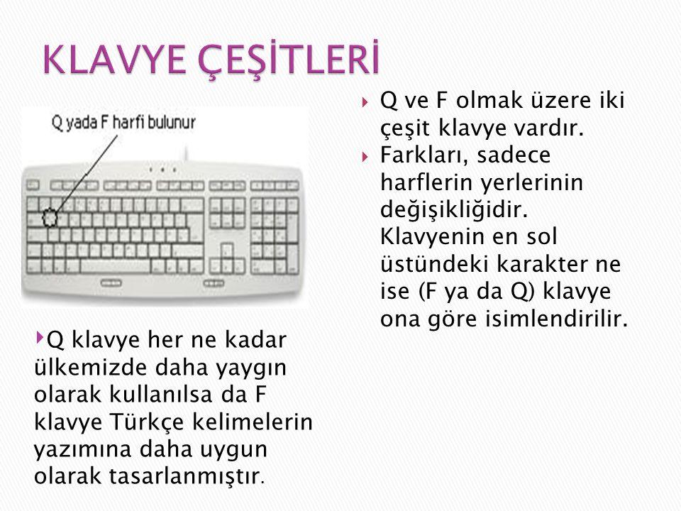  Q ve F olmak üzere iki çeşit klavye vardır.  Farkları, sadece harflerin yerlerinin değişikliğidir. Klavyenin en sol üstündeki karakter ne ise (F ya