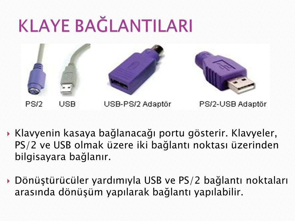  Klavyenin kasaya bağlanacağı portu gösterir. Klavyeler, PS/2 ve USB olmak üzere iki bağlantı noktası üzerinden bilgisayara bağlanır.  Dönüştürücüle