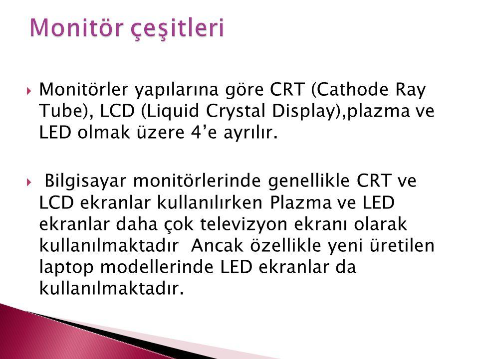  Monitörler yapılarına göre CRT (Cathode Ray Tube), LCD (Liquid Crystal Display),plazma ve LED olmak üzere 4'e ayrılır.  Bilgisayar monitörlerinde g