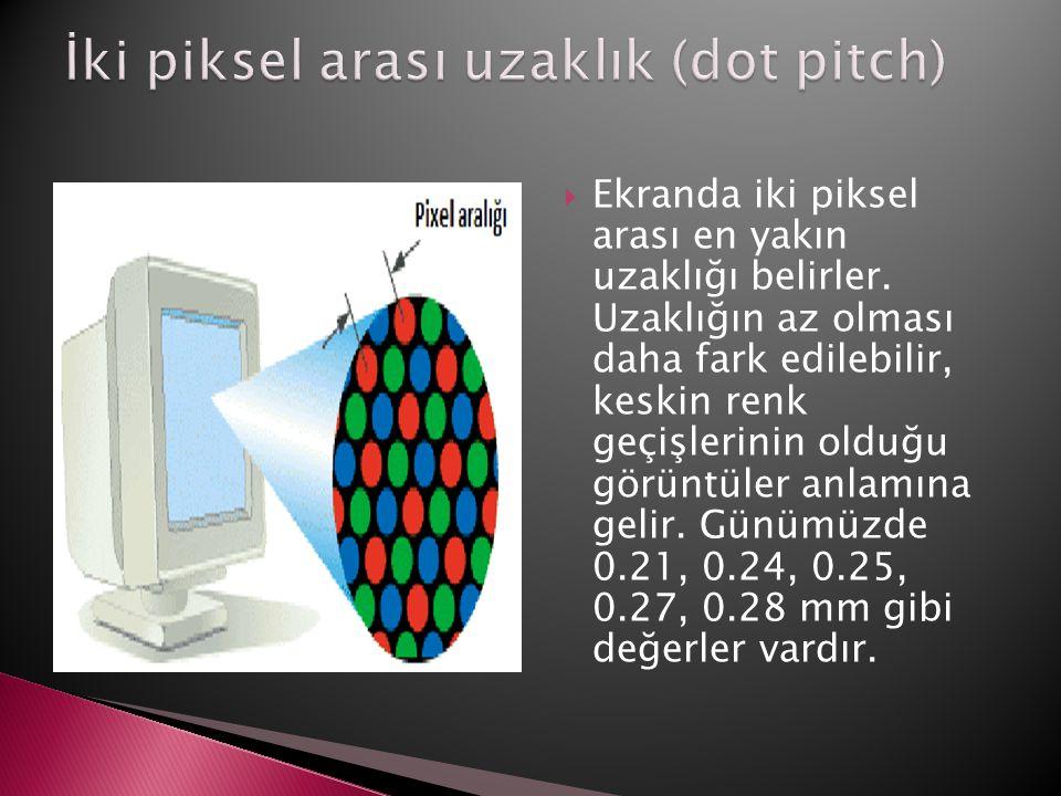  Ekranda iki piksel arası en yakın uzaklığı belirler. Uzaklığın az olması daha fark edilebilir, keskin renk geçişlerinin olduğu görüntüler anlamına g