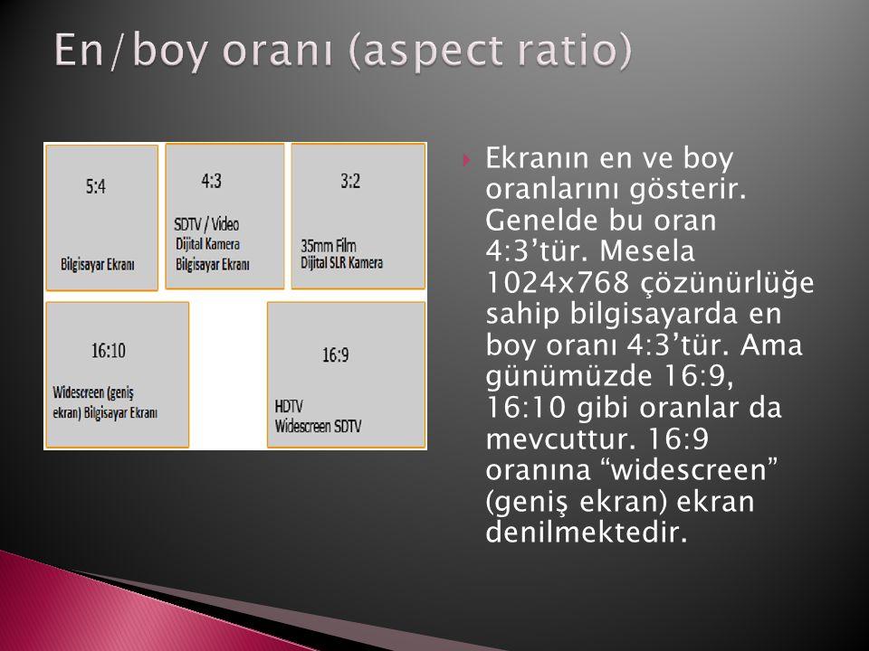  Ekranın en ve boy oranlarını gösterir. Genelde bu oran 4:3'tür. Mesela 1024x768 çözünürlüğe sahip bilgisayarda en boy oranı 4:3'tür. Ama günümüzde 1
