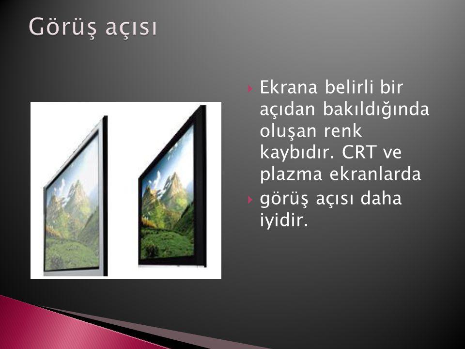  Ekrana belirli bir açıdan bakıldığında oluşan renk kaybıdır. CRT ve plazma ekranlarda  görüş açısı daha iyidir.