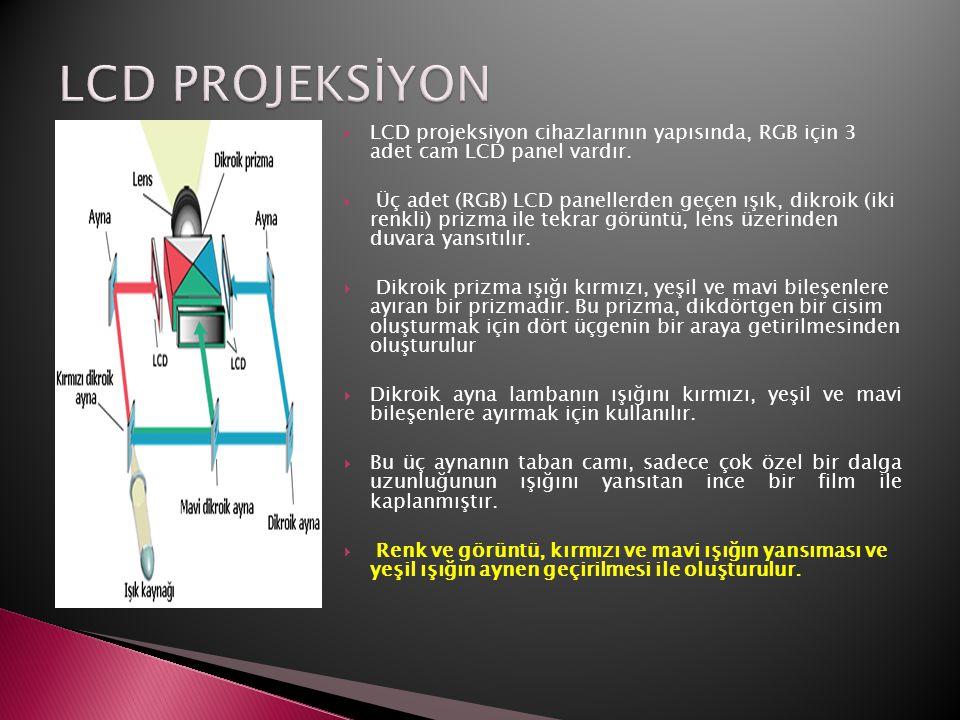  LCD projeksiyon cihazlarının yapısında, RGB için 3 adet cam LCD panel vardır.  Üç adet (RGB) LCD panellerden geçen ışık, dikroik (iki renkli) prizm