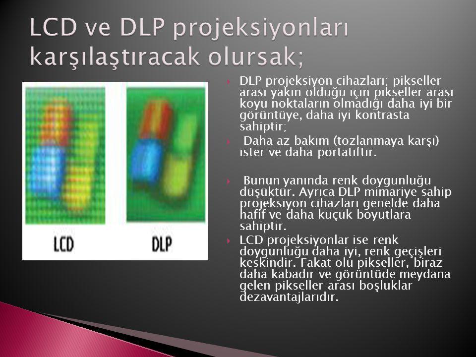  DLP projeksiyon cihazları; pikseller arası yakın olduğu için pikseller arası koyu noktaların olmadığı daha iyi bir görüntüye, daha iyi kontrasta sah