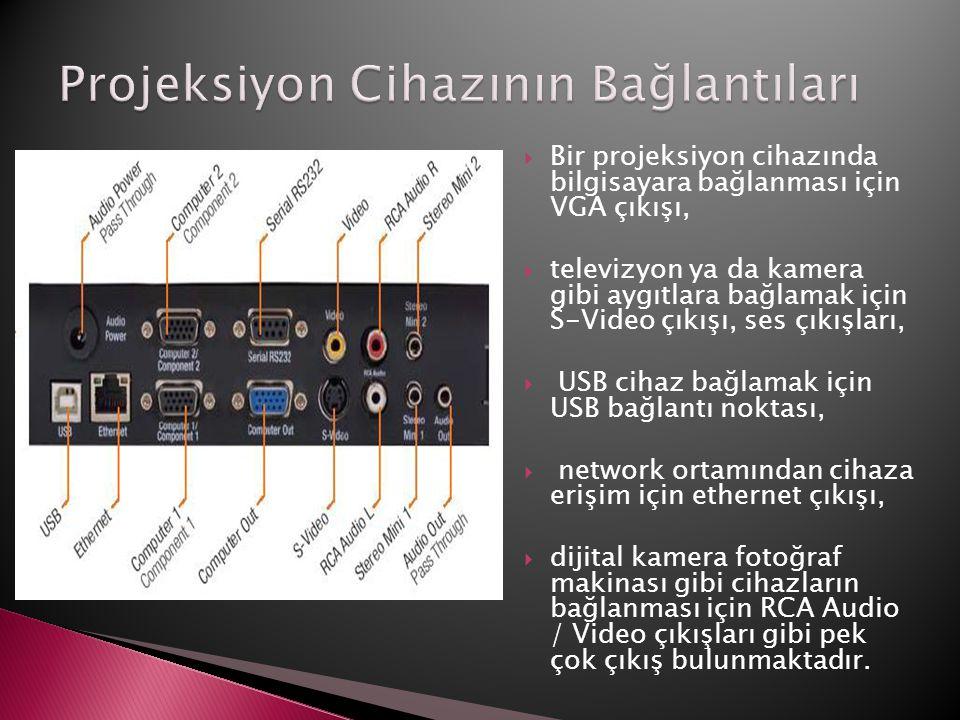  Bir projeksiyon cihazında bilgisayara bağlanması için VGA çıkışı,  televizyon ya da kamera gibi aygıtlara bağlamak için S-Video çıkışı, ses çıkışla