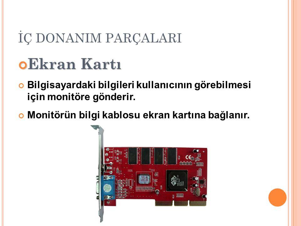 İÇ DONANIM PARÇALARI Ekran Kartı Bilgisayardaki bilgileri kullanıcının görebilmesi için monitöre gönderir.