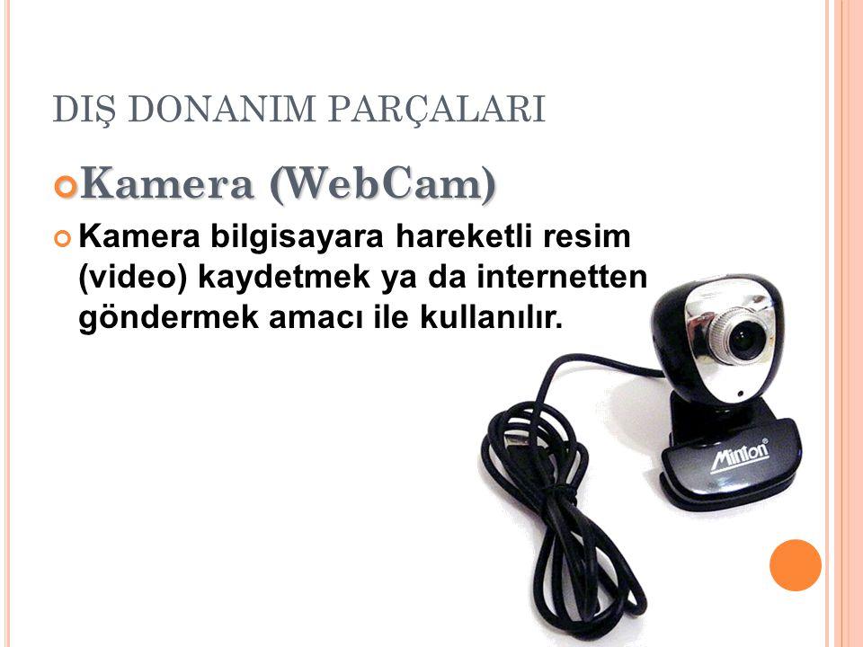 DIŞ DONANIM PARÇALARI Kamera (WebCam) Kamera bilgisayara hareketli resim (video) kaydetmek ya da internetten göndermek amacı ile kullanılır.