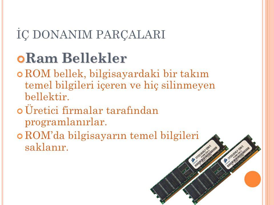 İÇ DONANIM PARÇALARI Ram Bellekler ROM bellek, bilgisayardaki bir takım temel bilgileri içeren ve hiç silinmeyen bellektir. Üretici firmalar tarafında