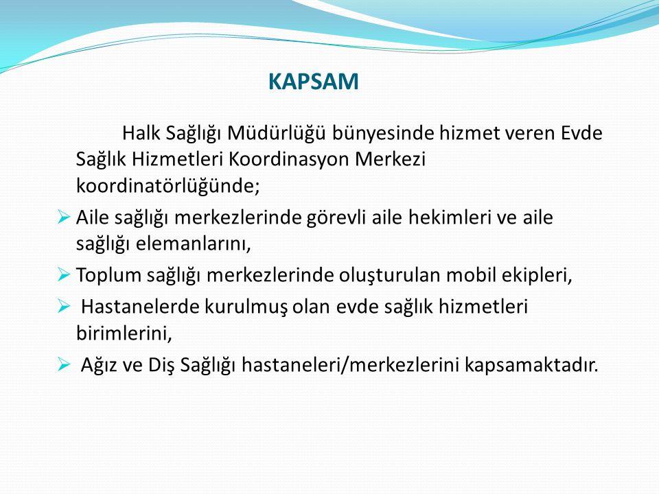 DURUM  Ankara ilinde 16 Ağustos 2010 tarihinden itibaren Sağlık Müdürlüğü bünyesinde Evde Sağlık Hizmetleri Koordinasyon Merkezi kurularak hizmet verilmeye başlanmıştır.