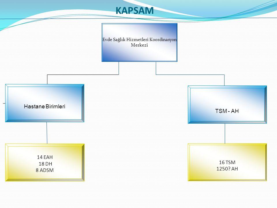 KAPSAM Evde Sağlık Hizmetleri Koordinasyon Merkezi Hastane Birimleri TSM - AH 14 EAH 18 DH 8 ADSM 16 TSM 1250? AH