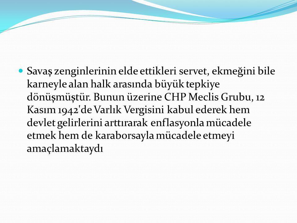 Savaş zenginlerinin elde ettikleri servet, ekmeğini bile karneyle alan halk arasında büyük tepkiye dönüşmüştür. Bunun üzerine CHP Meclis Grubu, 12 Kas