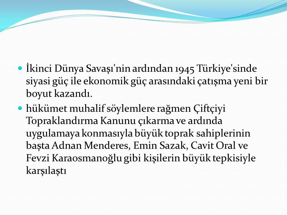 İkinci Dünya Savaşı'nin ardından 1945 Türkiye'sinde siyasi güç ile ekonomik güç arasındaki çatışma yeni bir boyut kazandı. hükümet muhalif söylemlere