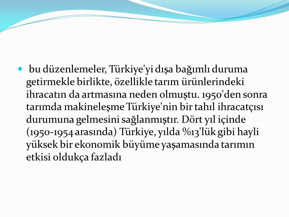 bu düzenlemeler, Türkiye'yi dışa bağımlı duruma getirmekle birlikte, özellikle tarım ürünlerindeki ihracatın da artmasına neden olmuştu. 1950'den sonr