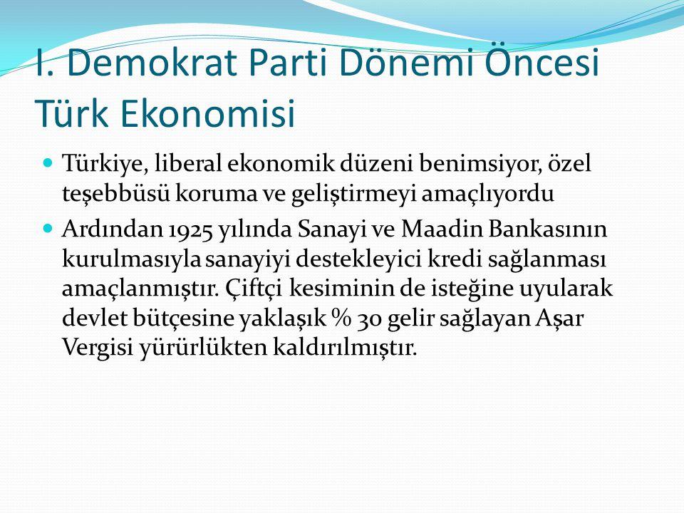 I. Demokrat Parti Dönemi Öncesi Türk Ekonomisi Türkiye, liberal ekonomik düzeni benimsiyor, özel teşebbüsü koruma ve geliştirmeyi amaçlıyordu Ardından