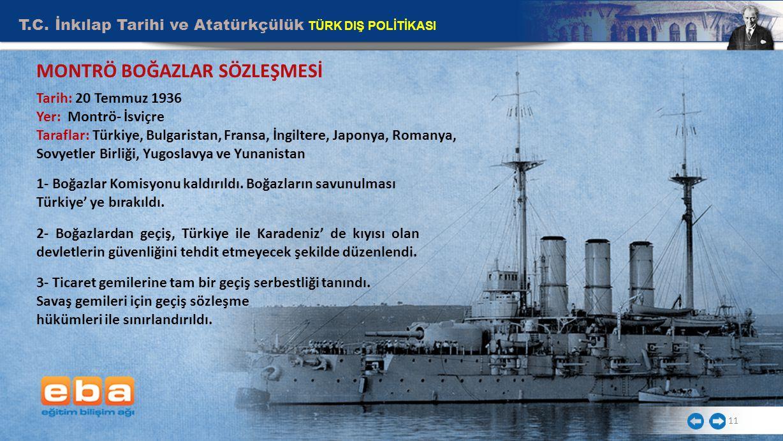 T.C. İnkılap Tarihi ve Atatürkçülük TÜRK DIŞ POLİTİKASI 11 Tarih: 20 Temmuz 1936 Yer: Montrö- İsviçre Taraflar: Türkiye, Bulgaristan, Fransa, İngilter