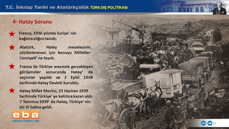 T.C. İnkılap Tarihi ve Atatürkçülük TÜRK DIŞ POLİTİKASI 14 4- Hatay Sorunu Fransa, 1936 yılında Suriye' nin bağımsızlığını tanıdı. Atatürk, Hatay mese