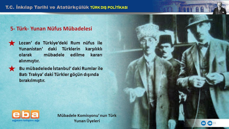 T.C. İnkılap Tarihi ve Atatürkçülük TÜRK DIŞ POLİTİKASI 15 5- Türk- Yunan Nüfus Mübadelesi Mübadele Komisyonu' nun Türk Yunan Üyeleri Lozan' da Türkiy