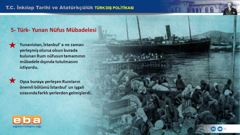 T.C. İnkılap Tarihi ve Atatürkçülük TÜRK DIŞ POLİTİKASI 16 5- Türk- Yunan Nüfus Mübadelesi Yunanistan, İstanbul' a ne zaman yerleşmiş olursa olsun bur