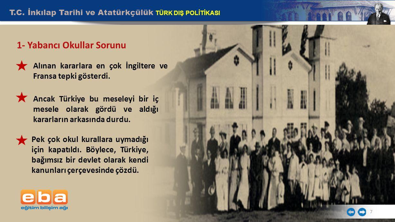 T.C. İnkılap Tarihi ve Atatürkçülük TÜRK DIŞ POLİTİKASI 7 Alınan kararlara en çok İngiltere ve Fransa tepki gösterdi. Ancak Türkiye bu meseleyi bir iç